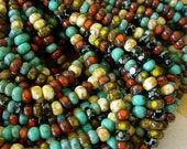 "Picasso Seed Beads, 6/0 Czech Seed Beads, 3 Cut Seed Beads- Multi Picasso Mix (1/20"") #606"