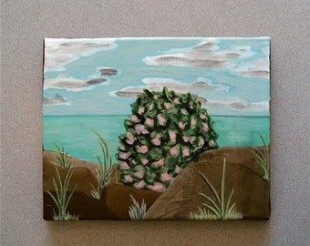 Portrait of a Native Bush at the Seaside // Original Acrylic Painting // 8X10