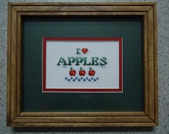 I Love Apples - Cross Stitch Picture - Kitchen Decor - Home Decor