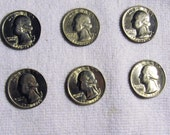 6 -- 1976 US Silver quarters , coins
