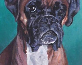 Boxer dog art CANVAS print of LA Shepard painting 12x16 dog portrait art