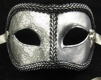 Winter's Coming Lord Mask, Game of Thrones inspired Silver Brodcade Covered Mask with Stark Wolf Emblem