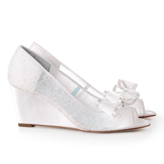 Lace Wedding Wedge Shoes Peep Toe Bridal Wedge By