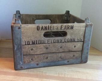 Vintage 1955 Wooden Milk Bottle Crate #A