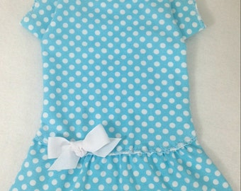 Aqua Dots T Shrit Dog Dress Size XXXS through MEDIUM by Doogie Couture