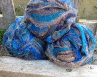 Alpaca Wool Roving, Spinning, Felting, Blue and Grey