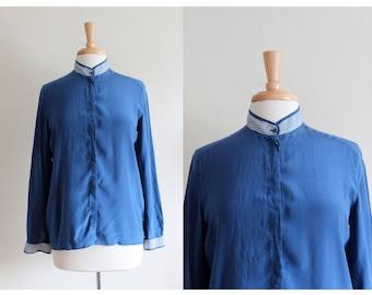 Vintage Les Copains Blue Silk Button Down Top