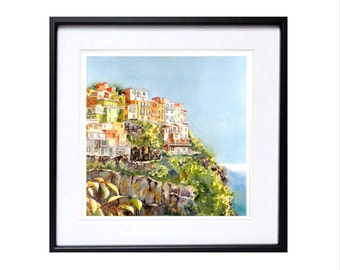 Travel Art Archival Print Italian Landscape Painting Vacation travel paintings of romantic Cinque Terre, Italy WatercolorByMuren 5 x 5  T