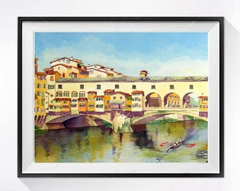 Watercolor Print of Florence Italy Ponte Vecchio Landscape painting famous bribge Travel art Bridge illustration blue beige painting A