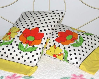 Pillowcase Pair, Black Dot with Orange and Yellow Flowers, Upcycled