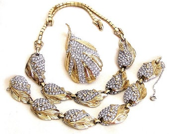 Reja Pave Set Rhinestones Gold Leaf Vintage Jewelry Set