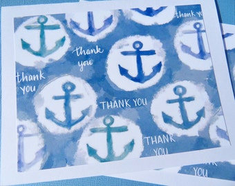 Nautical Note Cards - Nautical Cards - Blue and White Thank You Cards - Anchor Note Cards - Nautical Thank You Cards - WBA