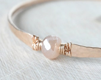 Blush Pink Moonstone Bangle Bracelet June Birthstone Mystic Peach Moonstone Blush Rose Gold Hammered Bangle Bracelet Rose Gold Filled