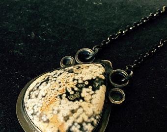 Ocean Jasper & Oxidized Sterling Silver Pendant