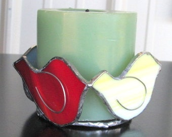 Stained Glass Birdie Candleholder, Art Glass Candleholder, Spring Candleholder, Bird Candleholders, Holiday Candleholder