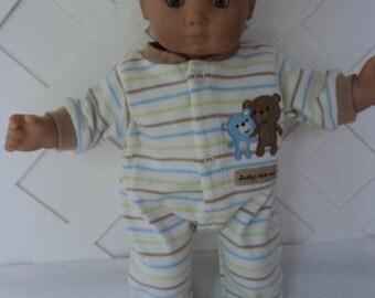 Bitty Baby Boy Teddy Bear  footed  Pajama, Sleeper, Doll Clothes