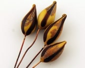 Lampwork Glass Bead Head Pins Etched Matte Headpin Brown  Rustic Pod on Antique Copper Wire, 2 Pair