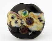Lampwork Glass Bead, Lentil Focal, Black,  Purple, Gold, Green