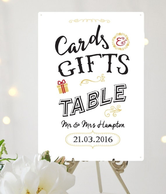 Personalised Wedding Table Gifts : Personalised Cards & Gifts table Wedding sign A4 metal vintage ...