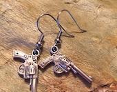 Gun pistol charm earring set (611)