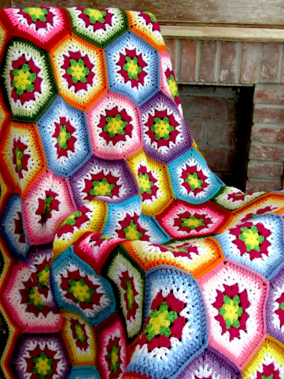 Made to Order.Hexagon flower hand crocheted blanket / handmade afghan. Free US shipping.