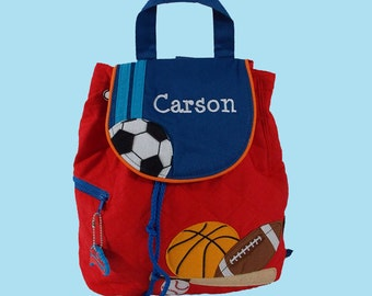 Personalized Child's Stephen Joseph Quilted SPORTS Themed  Backpack-Monogrammiong Is Included