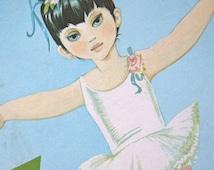 Nursery Decor Girl Vintage Ballerina Illustration 70s Z Childrens Art Print Illustration Big Eyes Jane Anne Grahame Johnstone Ballet Zoe