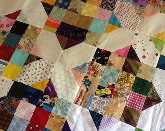 Scrappy X Unfinshed Quilt Top