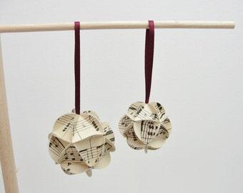 Vintage sheet music ornament mini icosahedron set of 2