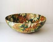 Mid Century Fiberglass Bowl, Floral Serving Bowl
