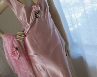 Vintage 1930s Style Pink Liquid Satin Gown Orig Design Size M Stunning Glamour