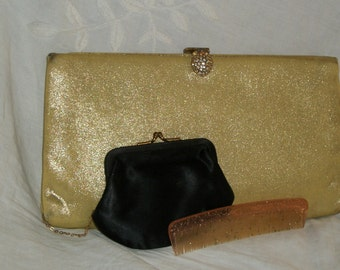 Vintage 1940s Soft Sparkly Gold Lame Purse Pineapple Rhinestone Clasp and Extras