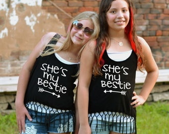 Bestie Tank Top, BFF, Best Friends, Tween, Teen, Fringe