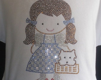 Dorothy from the Wizard of OZ iron on rhinestone transfer for shirt or costume