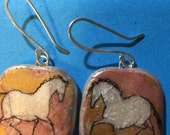 reserved for alex a Horse Jewelry: White Horses among Pink, Gold and Aqua. Earrings. Ink Drawing on Polymer Clay. 4183
