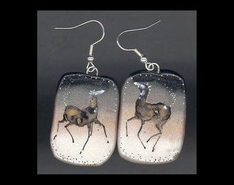 Horse Jewelry:  The Bouncy Foal Earrings. Original Ink Drawing on Polymer Clay. Black to Grey to Gold to Almost White 4141