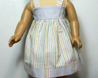 BK Pastel Pink, Lavender, Yellow, White, Green Stripe Sundress - 18 Inch Doll Clothes fits American Girl
