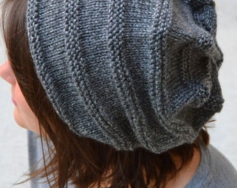 Knit Slouch Beanie CANYON, Hand Knit in CHARCOAL HEATHER (G2P1167)
