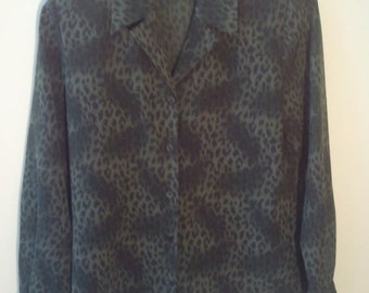 SALE polyester leopard print shirt blouse camouflage military green olive animal print punk grunge petite 6