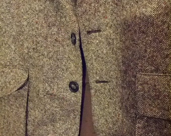 SALE 60s brown tweed suitcoat coat jacket blazer 44 regular men Jaguar Hungary