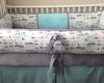 Teal gray teepees  Custom Baby Bumper  Crib Set DEPOSIT