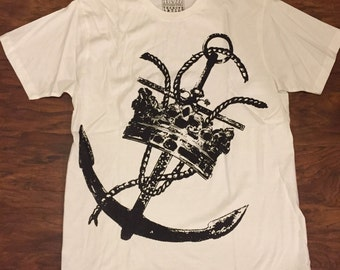 Nautical Anchor Crown Art Print 100% Cotton T-shirt