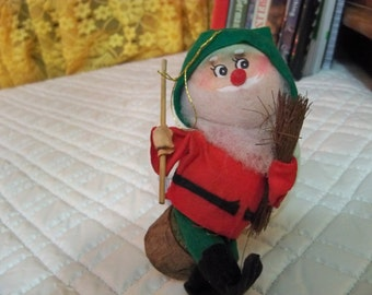 vintage Christmas woodsman ornament
