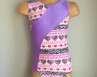 Gymnastics Leotard. Dance Leotards. Purple Heart Print Leotard. Toddlers Girls Gymnastics Leotard.  Sizes 2T - Girls 10