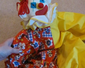 Vintage Large Colorful Rag Doll Clown