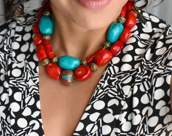 Red Coral Necklace, Big Bold Chunky Necklace, Chunky Coral Necklace, Red Statement Necklace, Tibetan Bead Necklace, Tibetan Jewelry