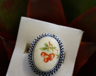 Charming Cherry Cabochon Ring- Silver Adjustable Setting!