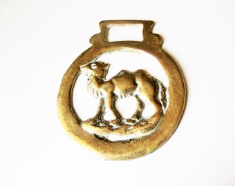 Victorian horse brass: Lovely unusual Victorian antique horse brass with camel design, camel horse brass, collectable, Victoriana