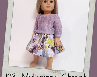 """18"""" Doll Clothes, AG doll clothes - Mauve Nubby 3/4 Sleeve Sweater and Floral print skirt fits 18"""" dolls like American Girl, Maplelea"""