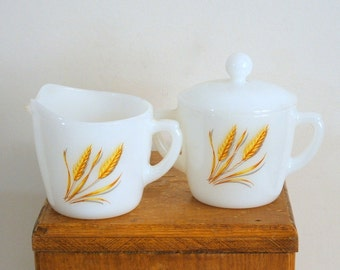 Fire King Cream and Sugar Set Milkglass Wheat Pattern